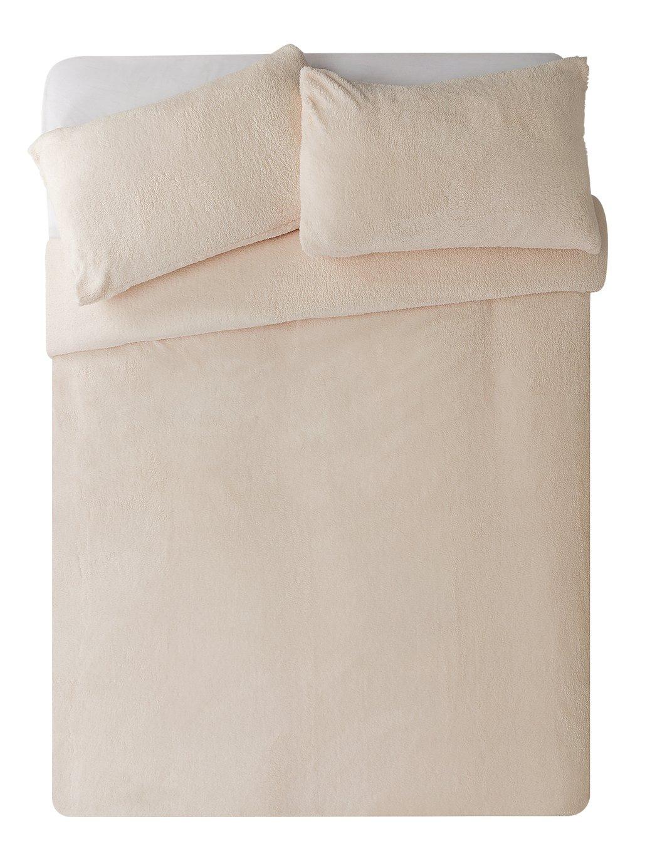 Argos Home Cream Fleece Bedding Set - Superking