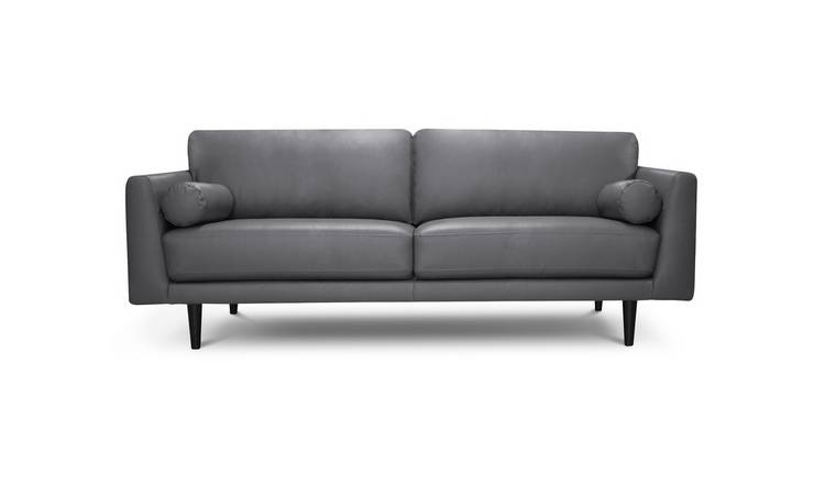 Habitat Jackson 4 Seater Leather Sofa - Grey