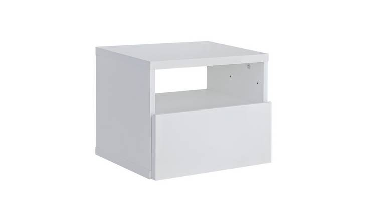 Argos Home Jenson Gloss Floating Bedside Table - White