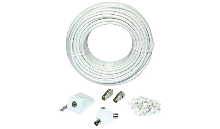 25m Aerial Extension Lead - White