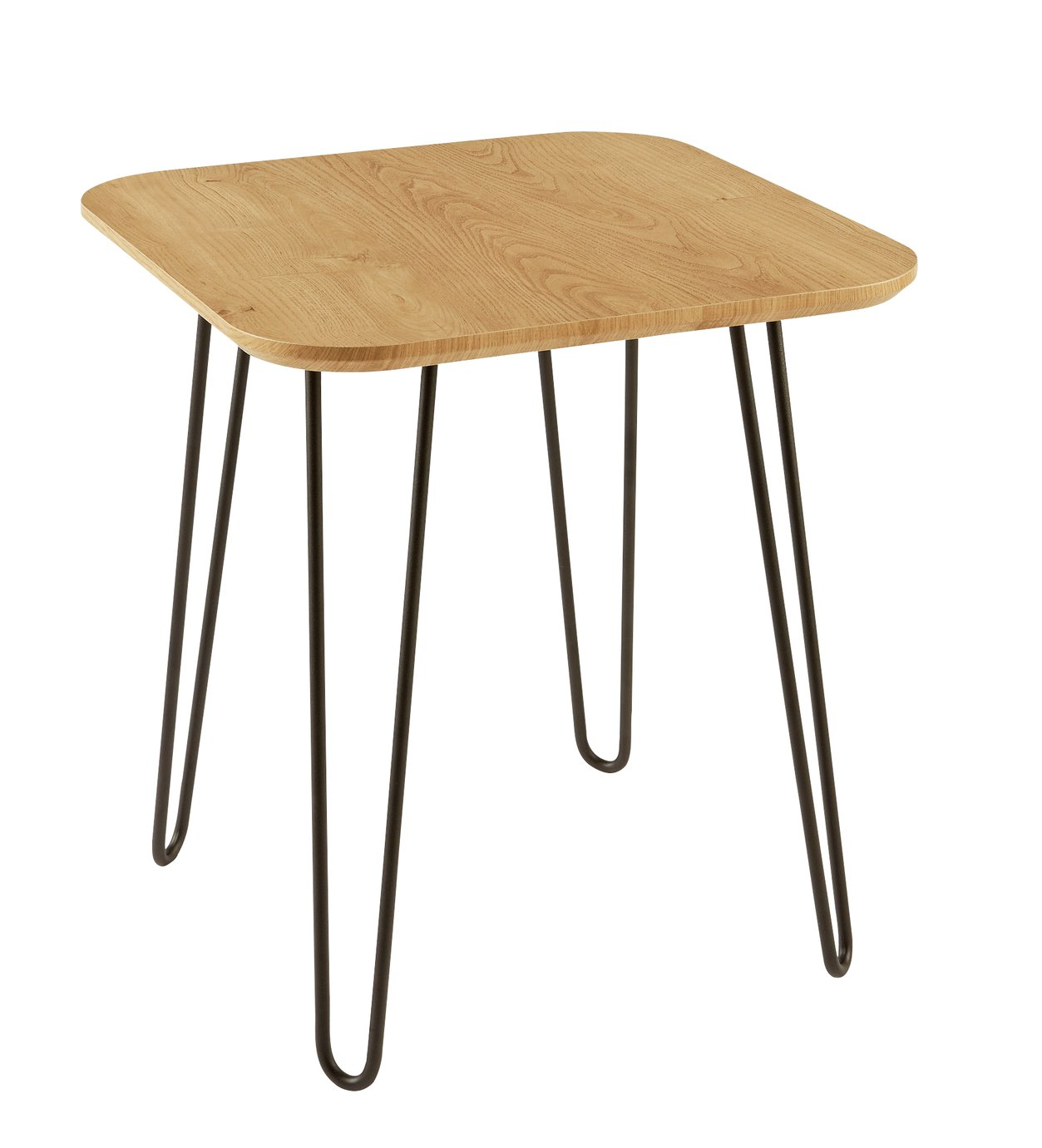 Argos Home Klark Hairpin End Table - Light Wood Effect