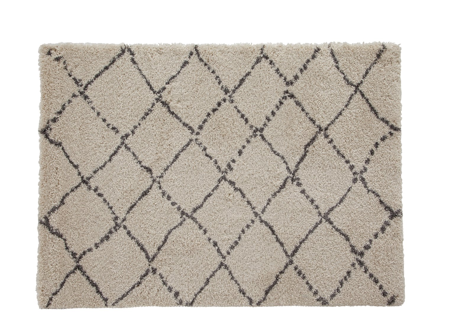 Argos Home Zig Zig Shaggy Rug - 160x120xm - Grey & Cream