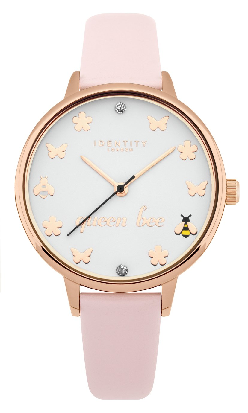 Identity London Ladies Pink Faux Leather Strap Watch
