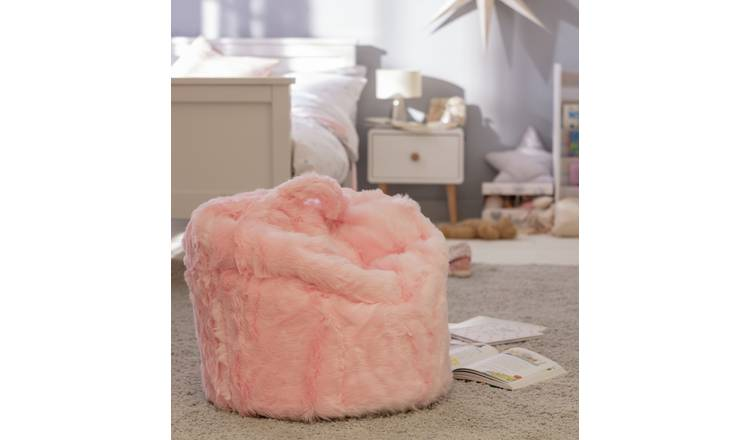 Argos Home Faux Fur Pink Fluffy Bean Bag