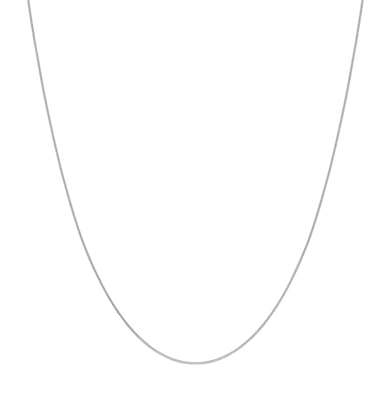 Revere 9ct White Gold Box Chain Necklace