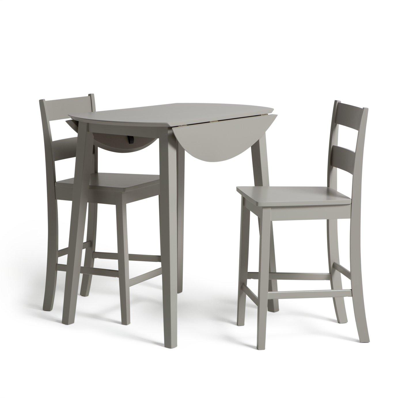 Habitat Chicago Extending Bar Table & 2 Stools - Grey