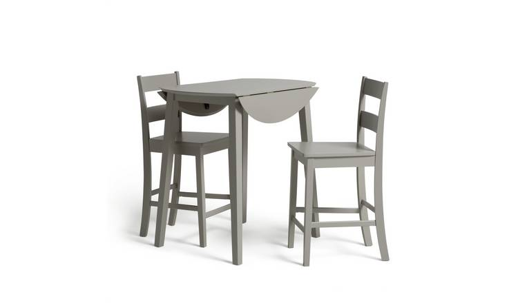 Habitat Chicago Extending Bar Table & 2 Stools - Grey