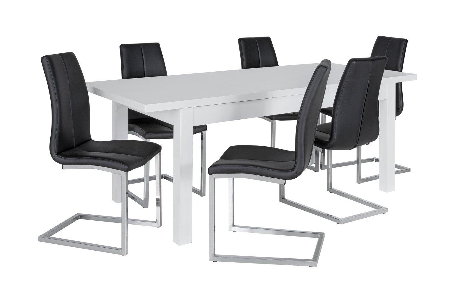 Argos Home Lyssa Extending XL Gloss Table & 6 Chairs - Black