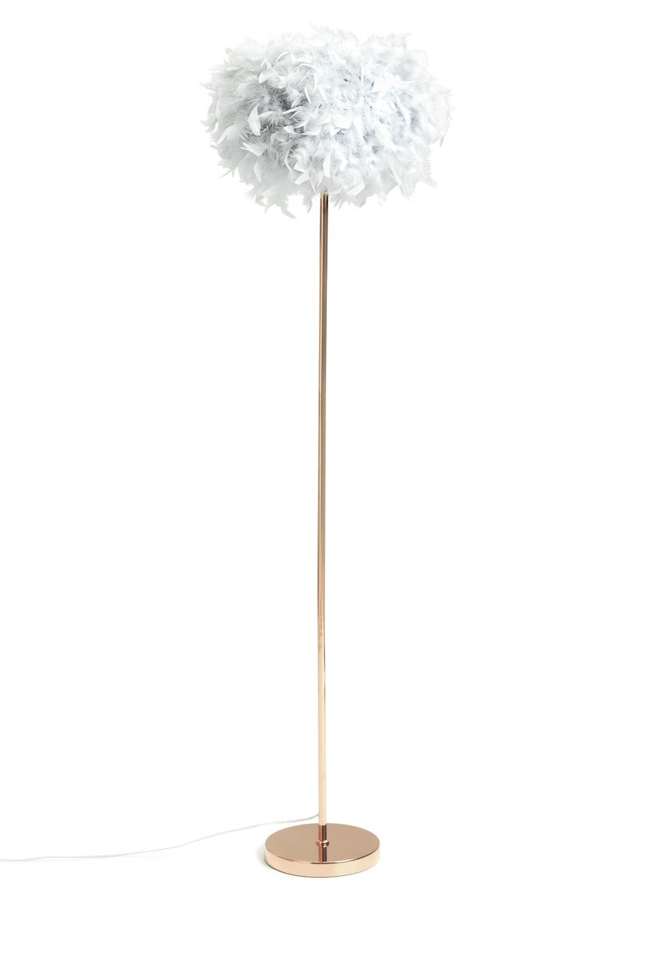 Habitat Feather Floor Lamp - Grey and Rose Gold
