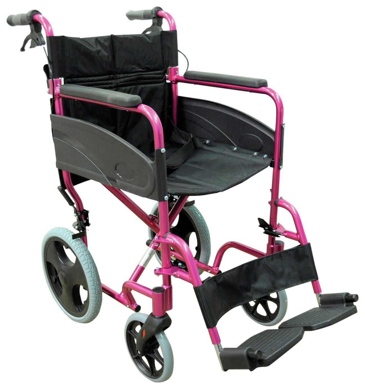 Aidapt Deluxe Transport Aluminium Pink Wheelchair