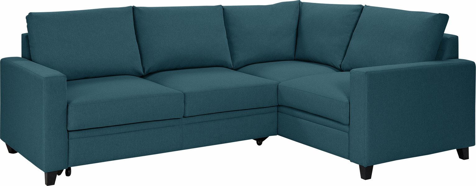Argos Home Seattle Right Corner Fabric Sofa Bed - Blue