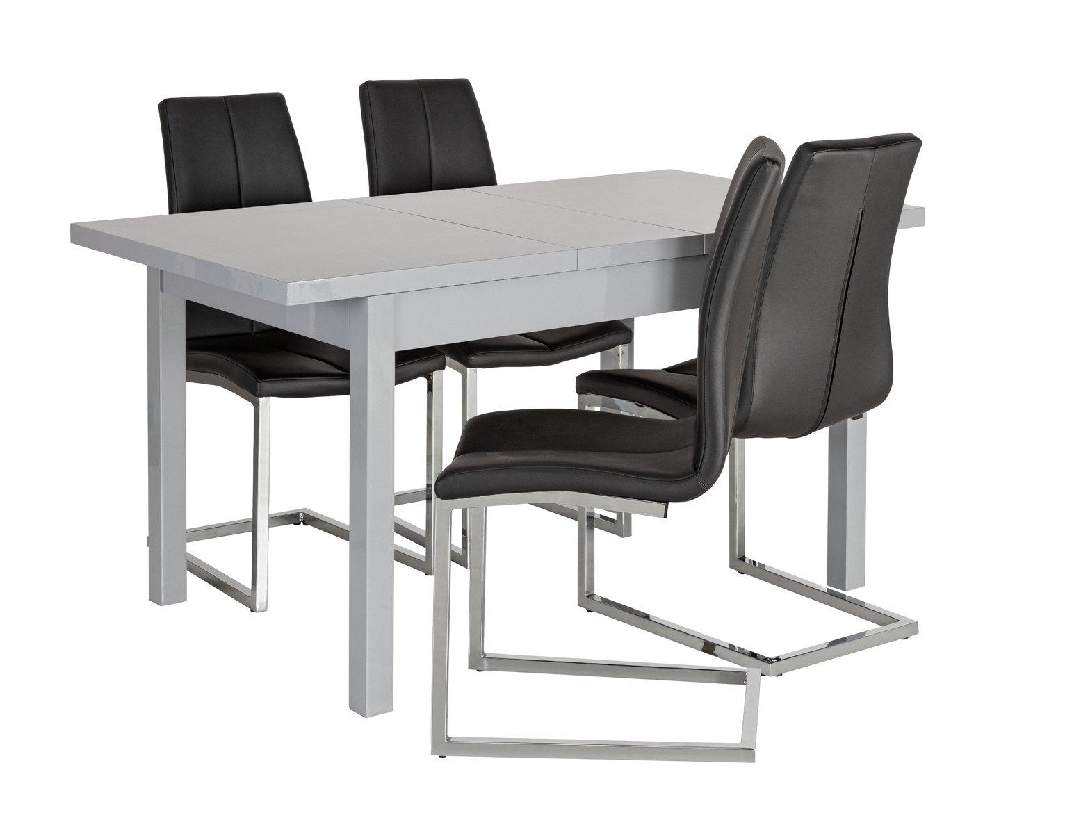 Argos Home Lyssa Extending Gloss Table & 4 Milo Chair -Black