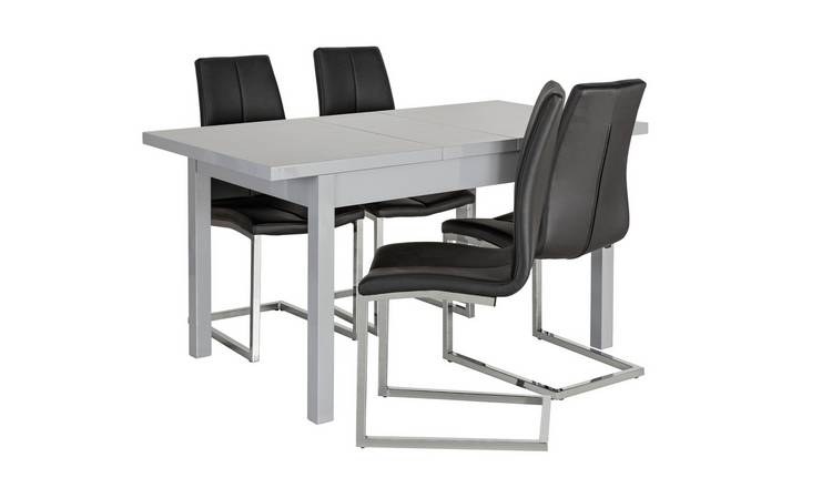 Amazing Buy Argos Home Lyssa Extending Gloss Table 4 Milo Chair Black Dining Table And Chair Sets Argos Evergreenethics Interior Chair Design Evergreenethicsorg