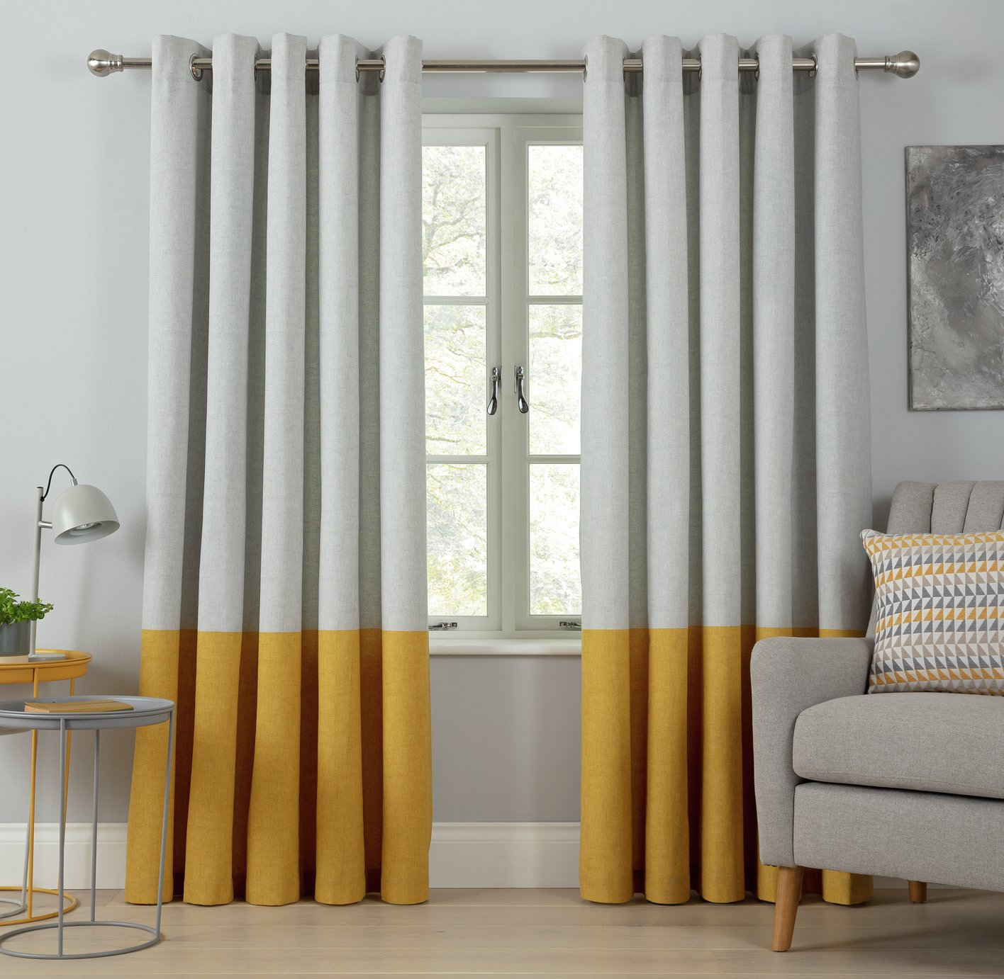 Argos Home Printed Border Unlined Eyelet Curtains - Mustard