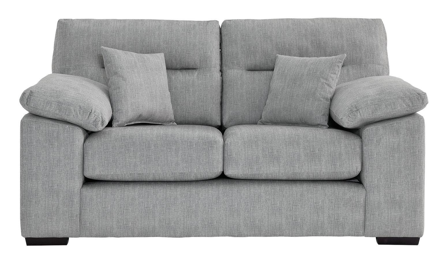 Argos Home Donavan 2 Seater Fabric Sofa - Silver