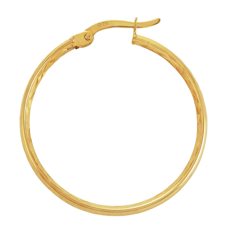 Revere 9ct Gold Plated Diamond Cut Hoop Earrings