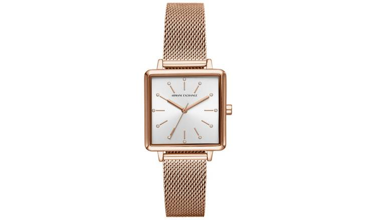 Armani Exchange Ladies Rose Gold Mesh Bracelet