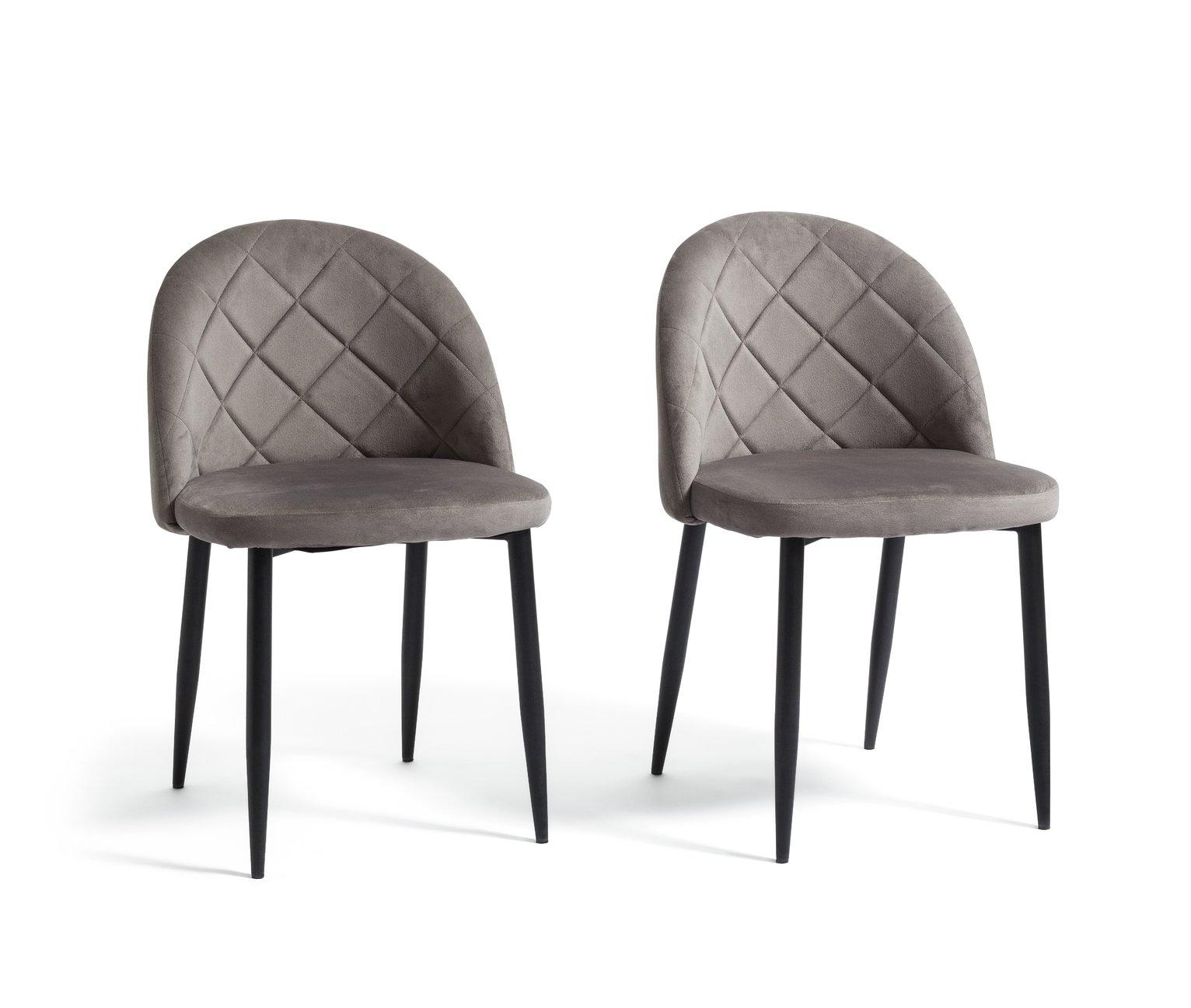 Argos Home Imogen Pair of Velvet Dining Chairs - Grey