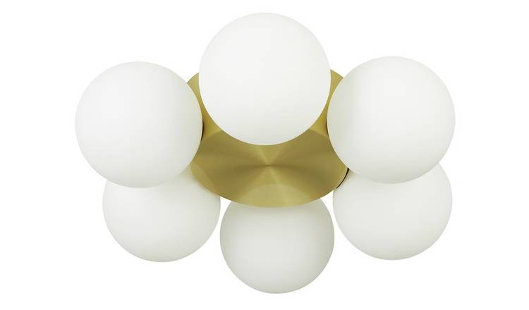 Habitat Ari 6 Light Metal Ceiling Light - White and Gold