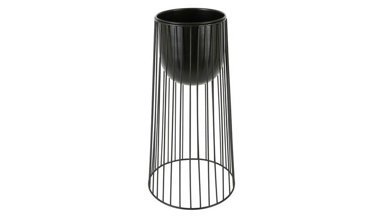 Habitat Zed Tall Black Plant Pot With Spindle Legs
