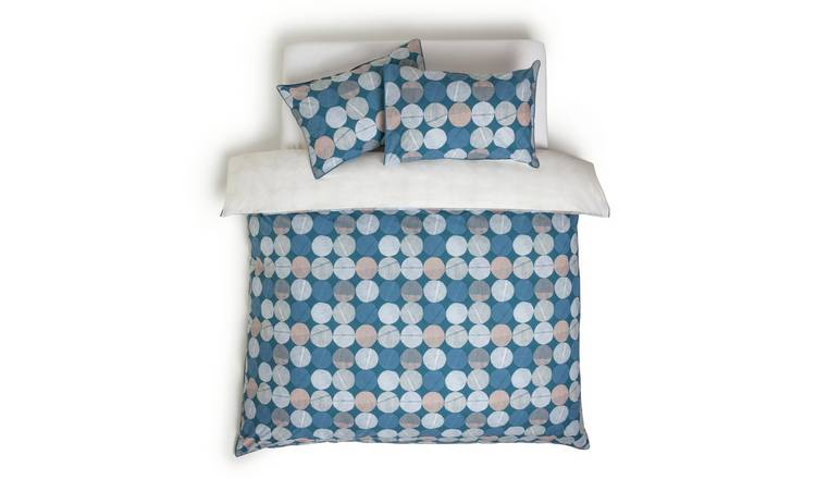 Habitat Textured Navy Spot Bedding Set - Double