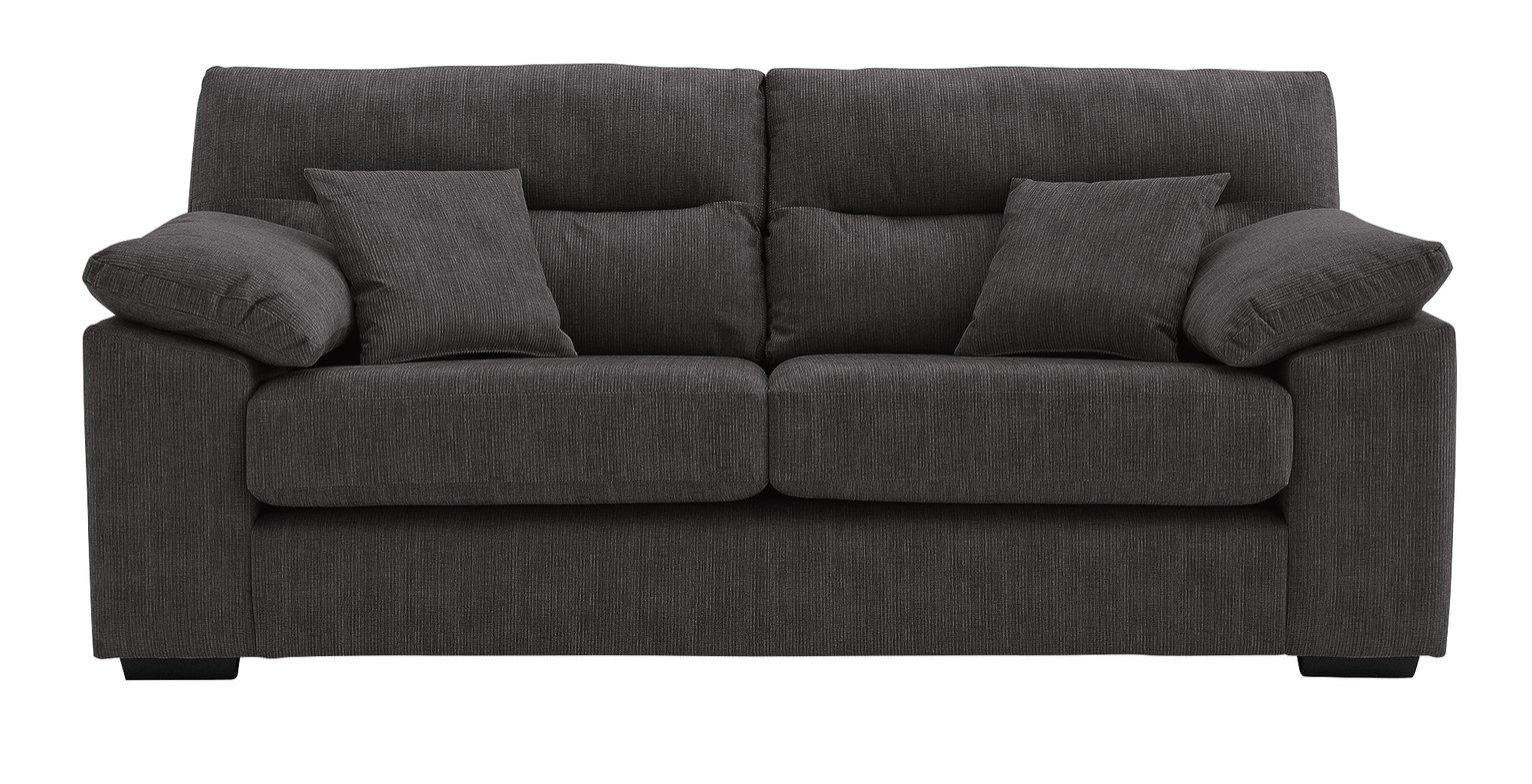 Argos Home Donavan 3 Seater Fabric Sofa - Charcoal