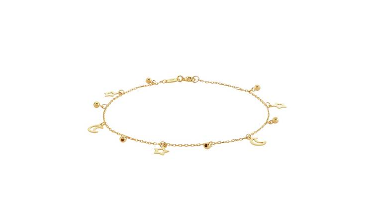 Revere 9ct Gold Plated Sterling Silver Moon & Star Bracelet