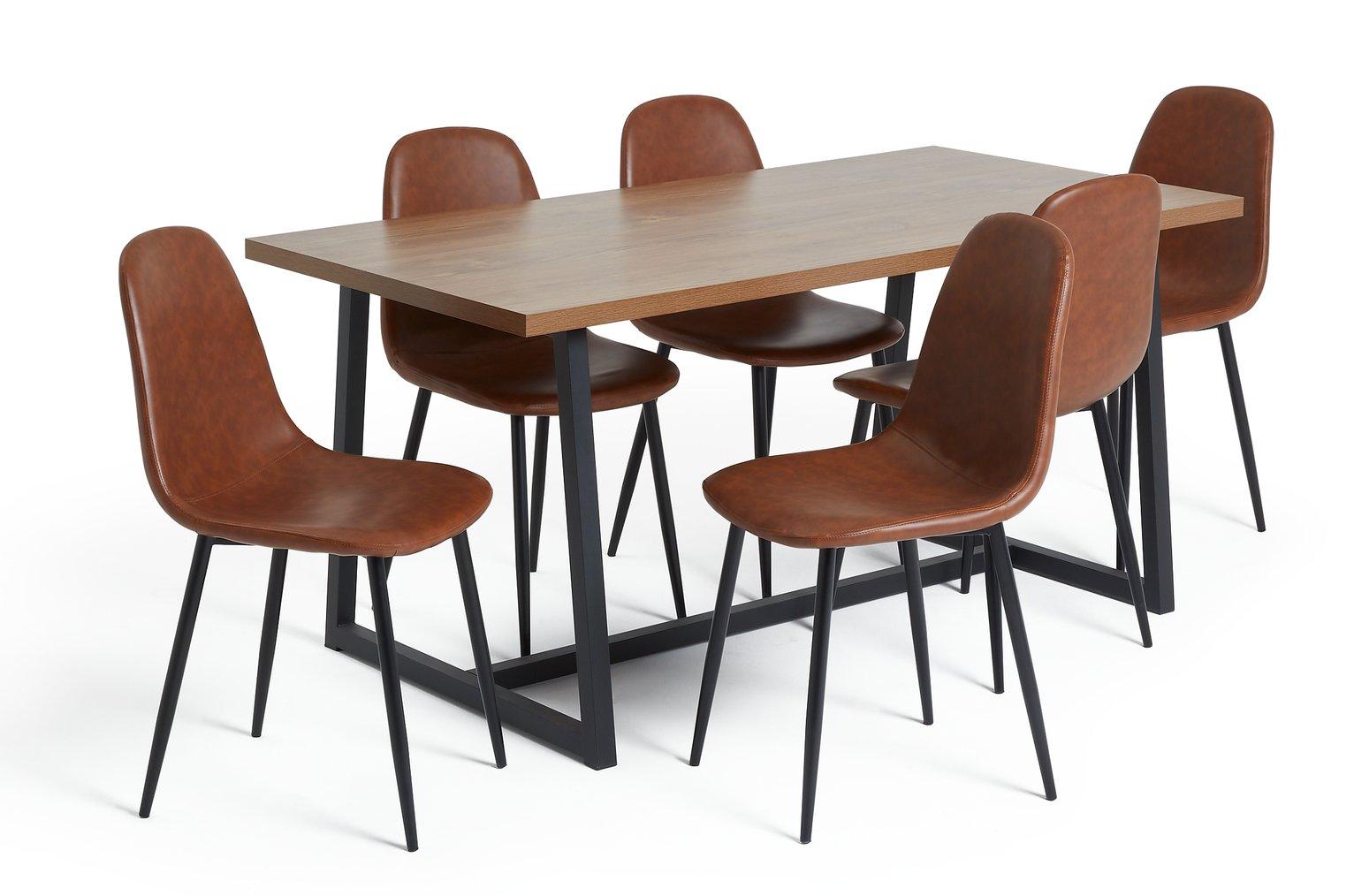 Habitat Nomad Oak Dining Table and 6 Beni Tan Chairs