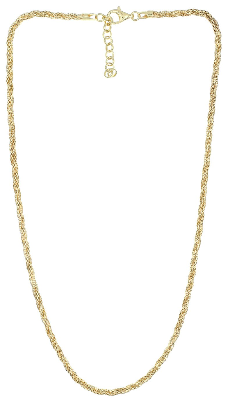 Revere 9ct Gold Plated Sterling Silver Twist Necklace