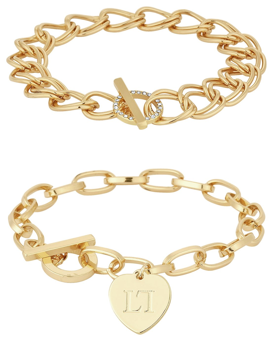 Lipsy Gold Colour Crystal and Heart T-Bar Bracelets Set of 2