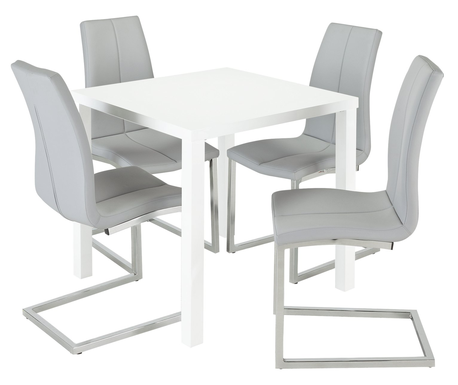 Argos Home Lyssa Gloss Dining Table & 4 Milo Chairs - Grey