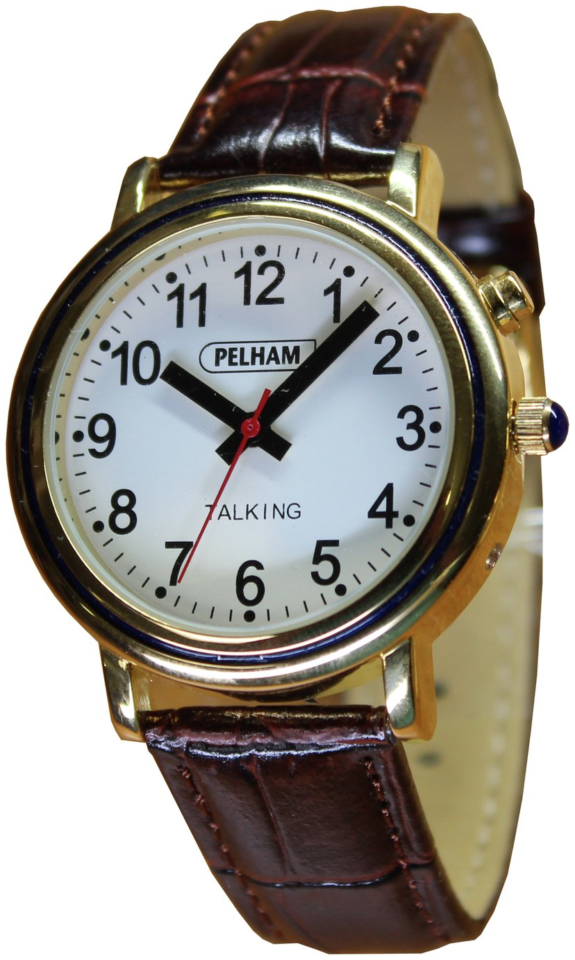 Thoughtfully Designed Talking Analogue Gold Case Large Watch