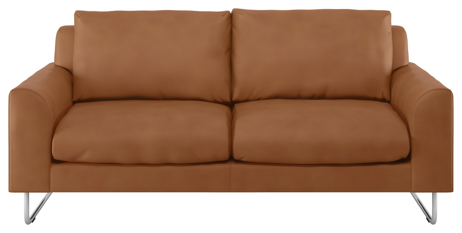 Habitat Lyle 2 Seater Leather Sofa - Tan