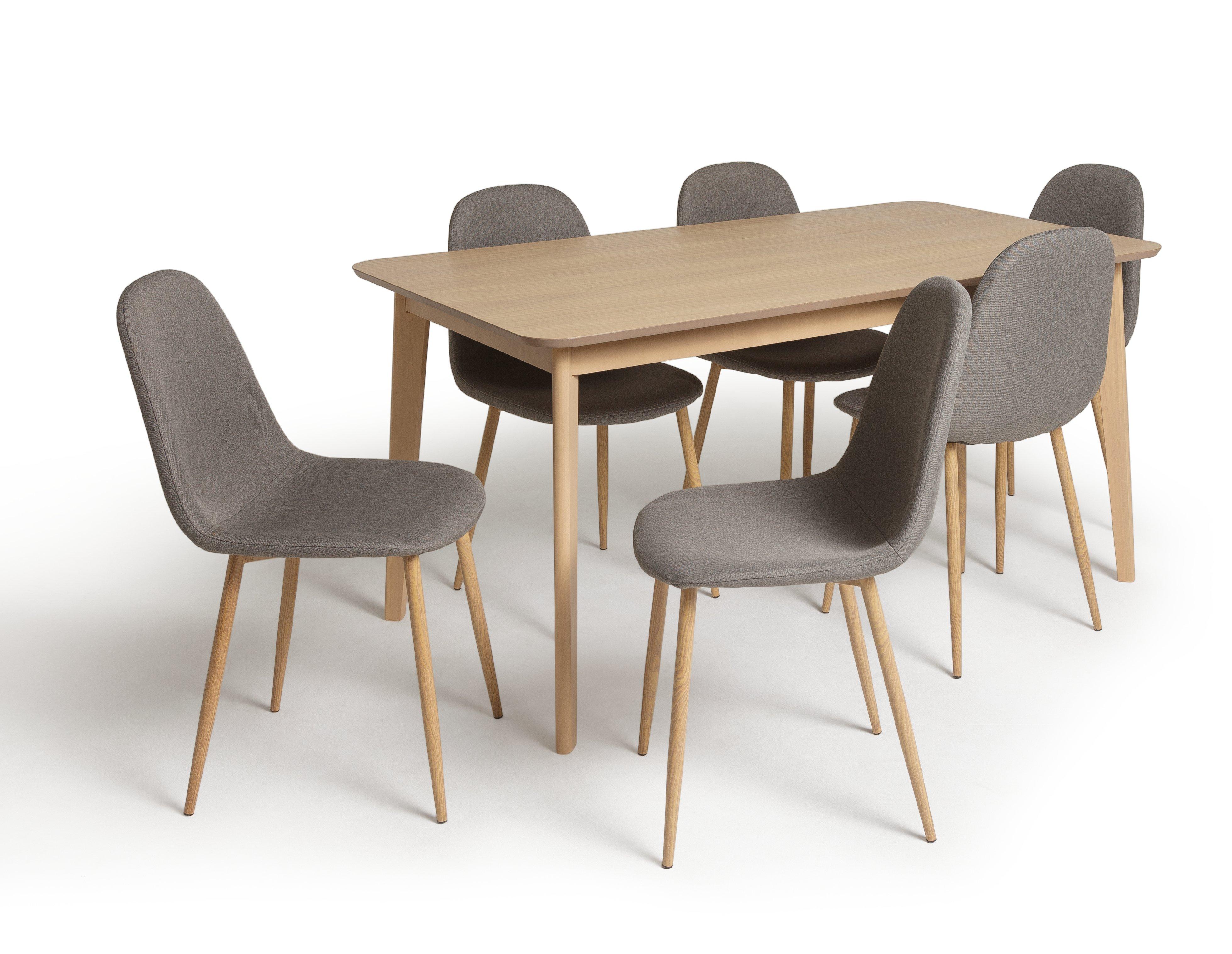 Habitat Skandi Wood Dining Table and 6 Beni Grey Chairs