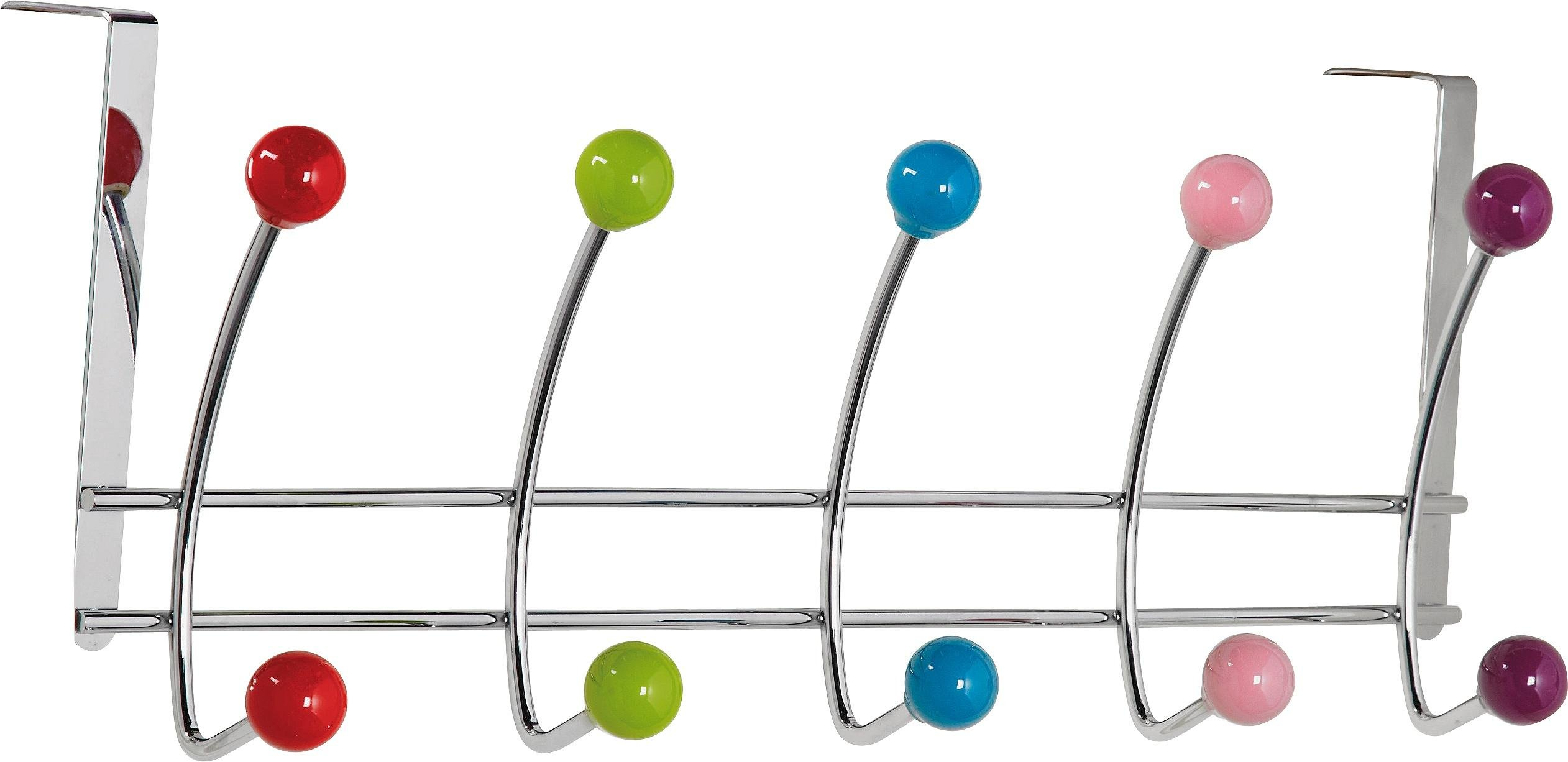 Argos Home 5 Double Coloured Ball Over Door Hooks - Chrome