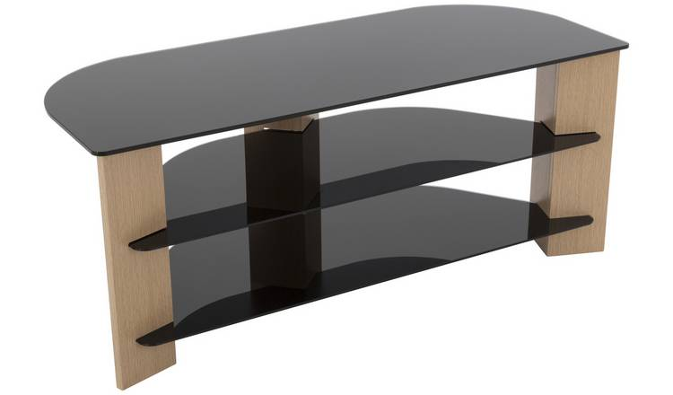 AVF Up To 55 Inch TV Stand - Black Glass and Oak Effe