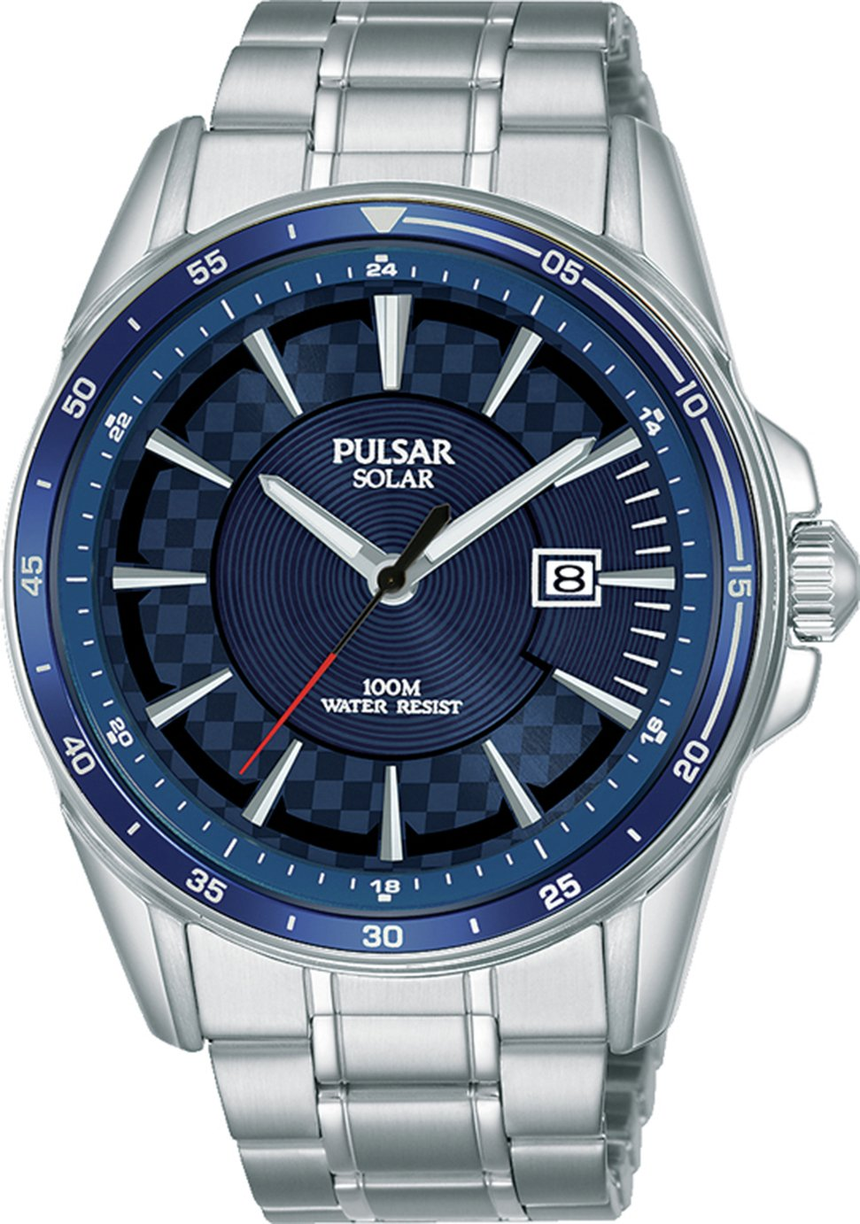 Pulsar Men's Solar Chequer Stainless Steel Bracelet Watch