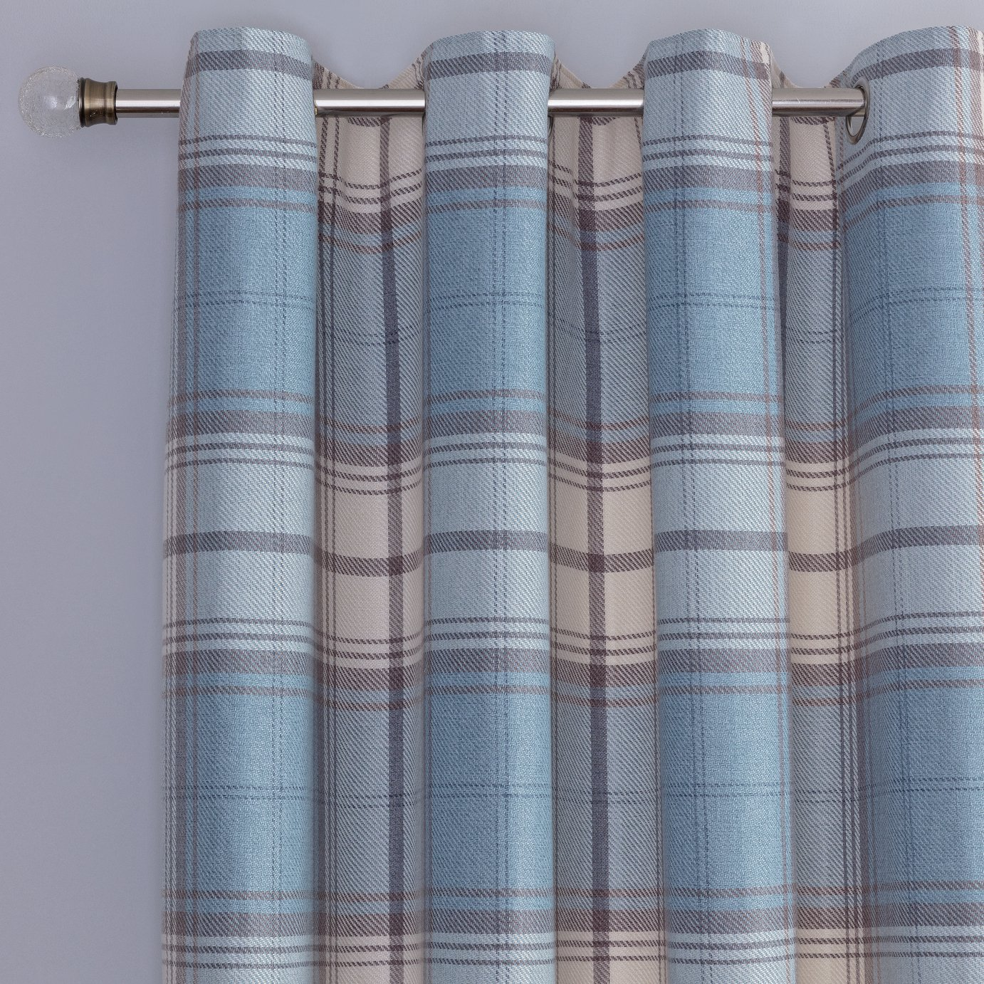 Argos Home Traditional Brushed Check Eyelet Cutains - Blue