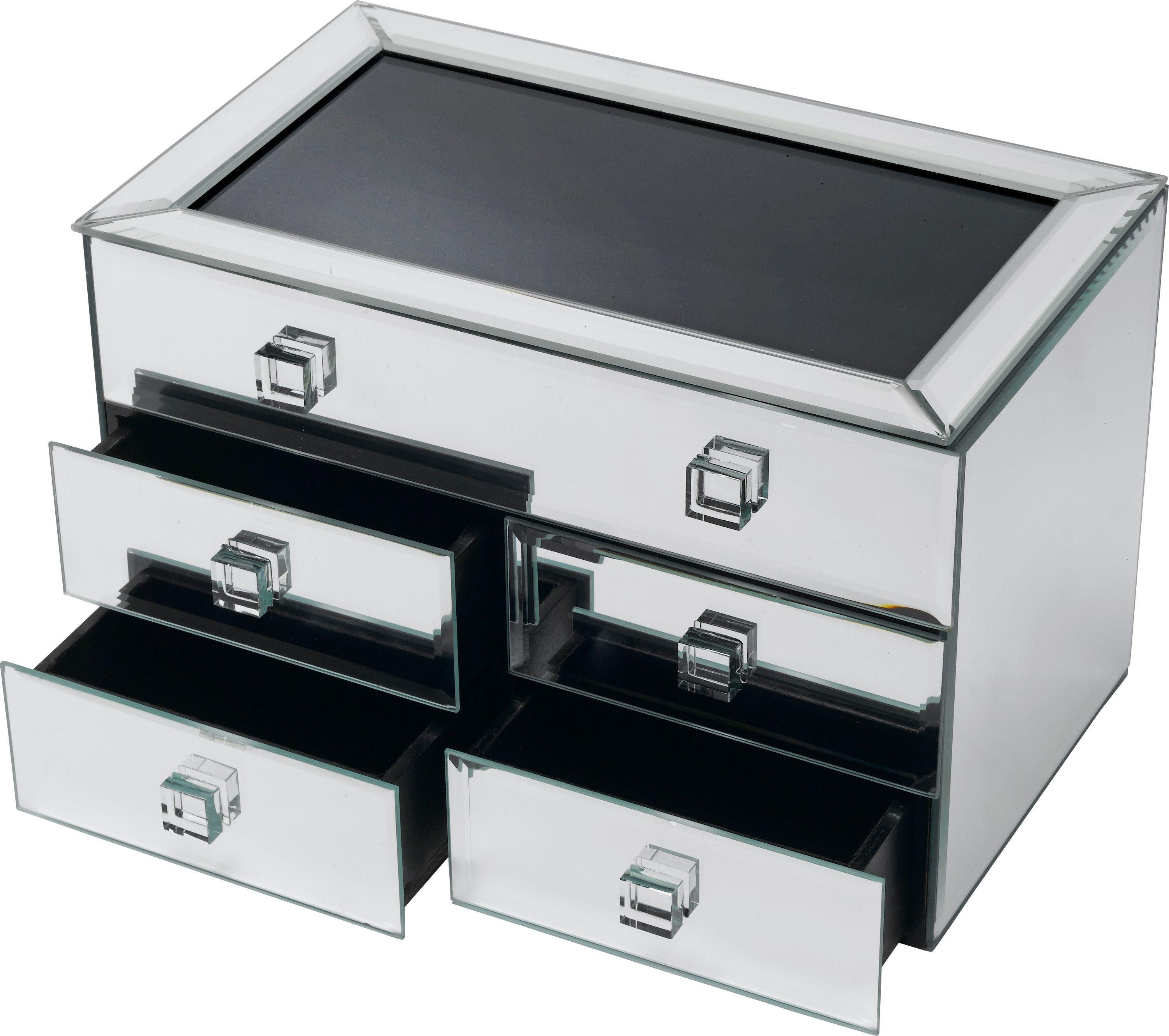 Image of Bevelled Five Drawer Mirrored - Jewellery Box