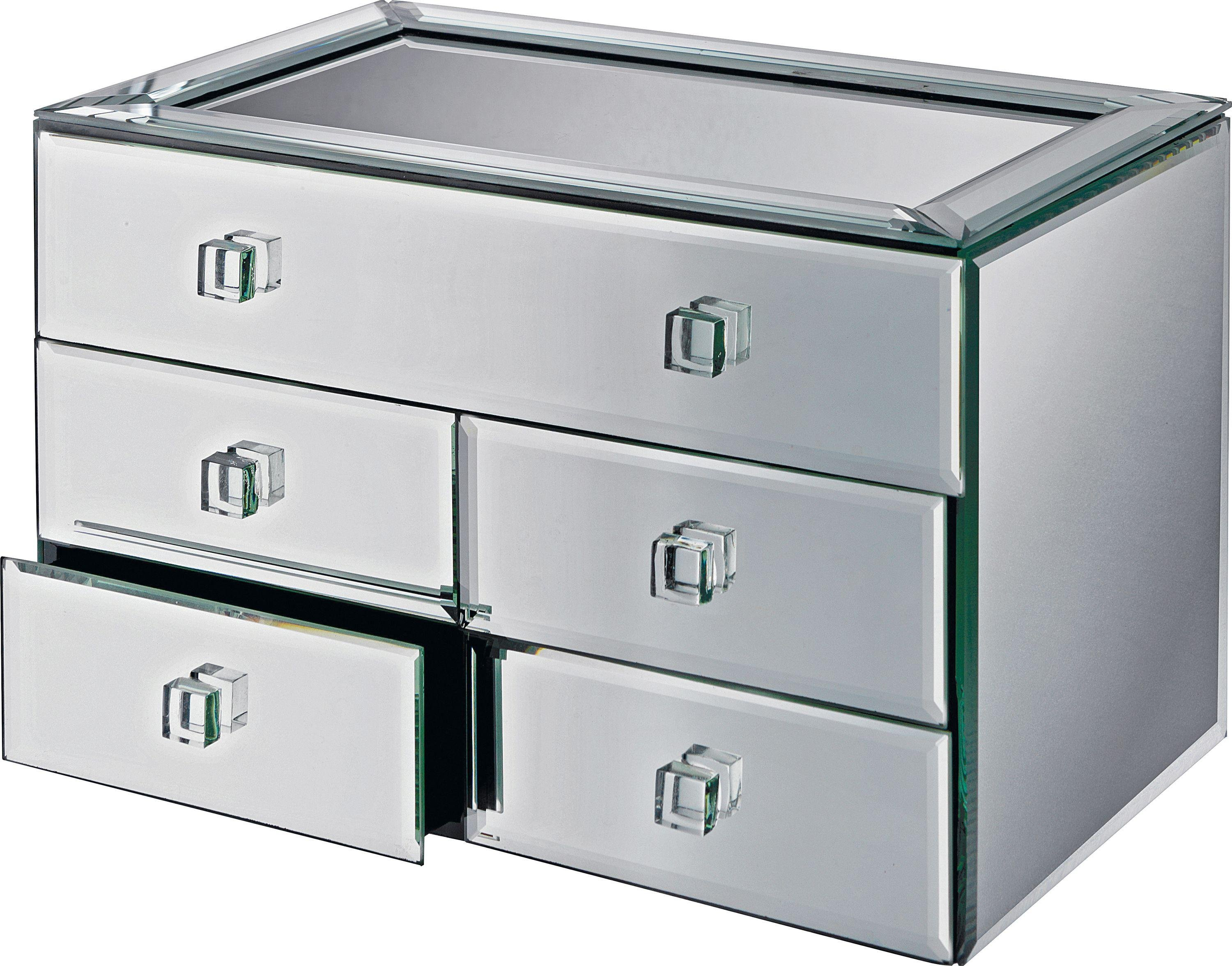 Buy Bevelled Five Drawer Mirrored Jewellery Box Jewellery boxes