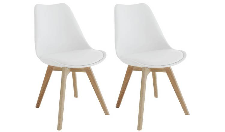 Habitat Jerry Pair of Fabric Dining Chair - White