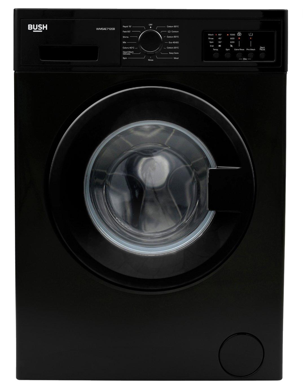 Bush WMSAE712EB 7KG 1200 Spin Washing Machine - Black
