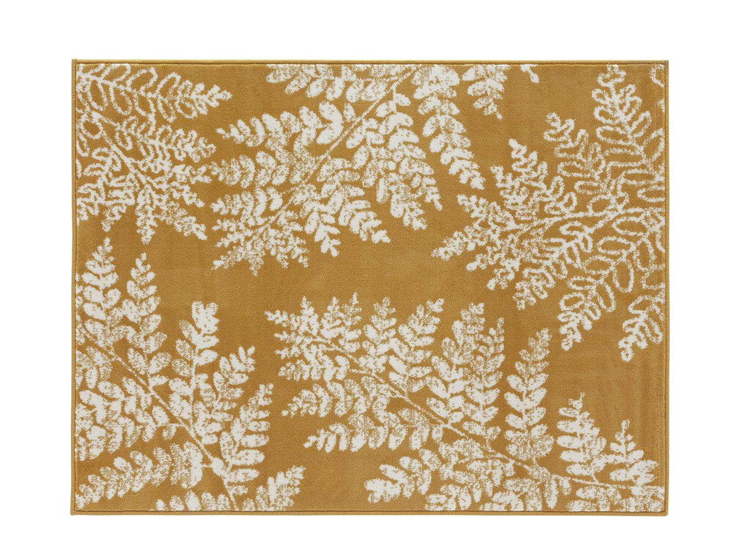 Argos Home Fern Leaf Rug - 160x120cm - Mustard
