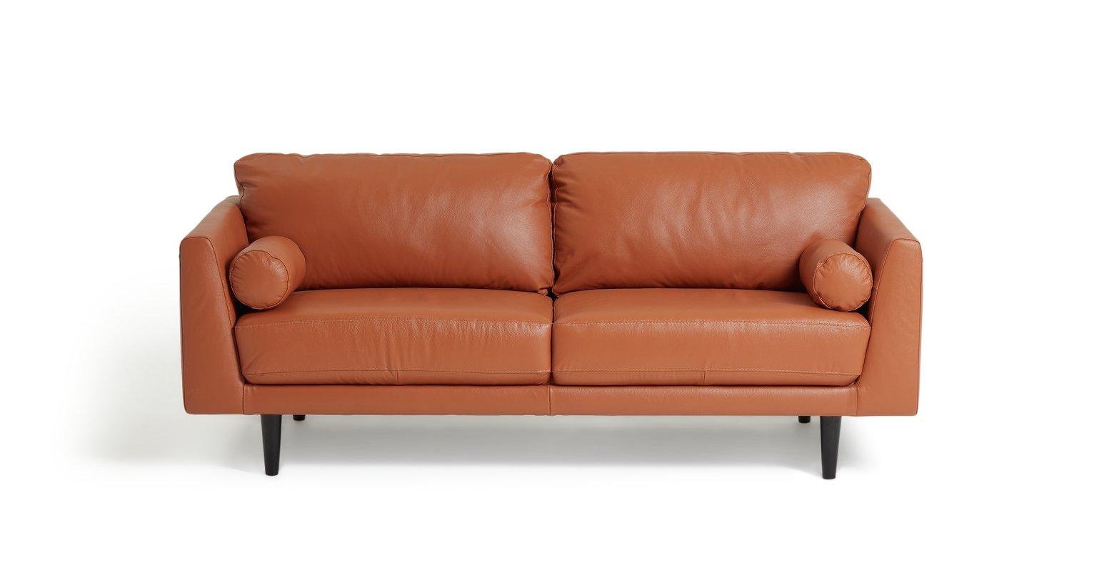 Habitat Jackson 3 Seater Leather Sofa - Tan