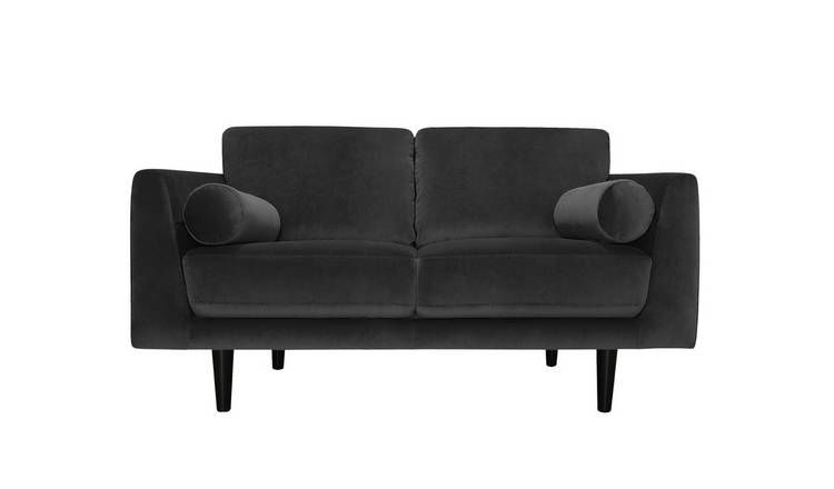 Argos Home Jackson 2 Seater Velvet Sofa - Charcoal