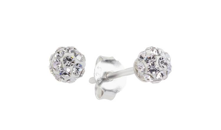 Revere Sterling Silver Round Crystal Ball Stud Earrings
