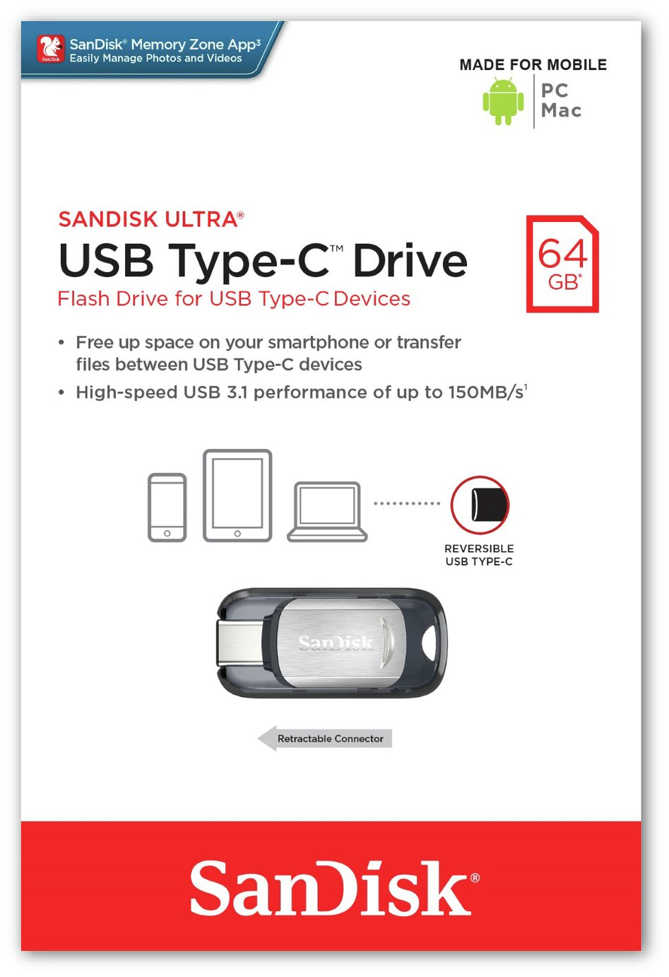 SanDisk Ultra Dual Flash Drive USB 3.0 Type-C - 64GB