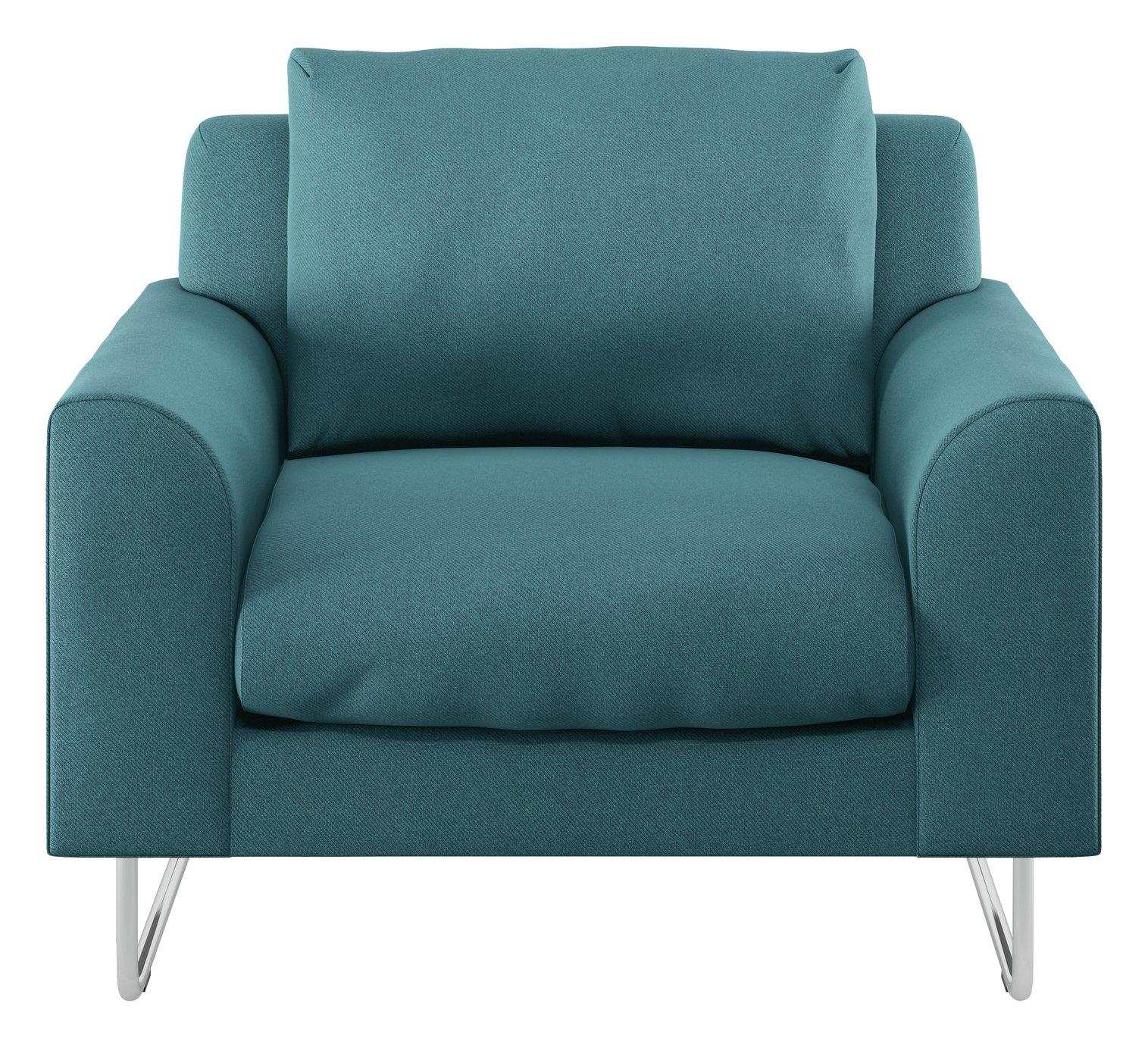 Habitat Lyle Teal Fabric Armchair