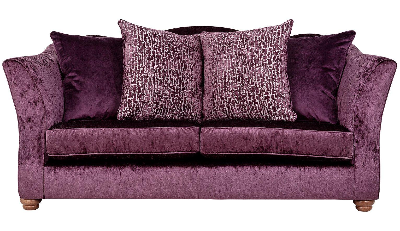 Argos Home Fantasia 3 Seater Velvet Sofa - Purple