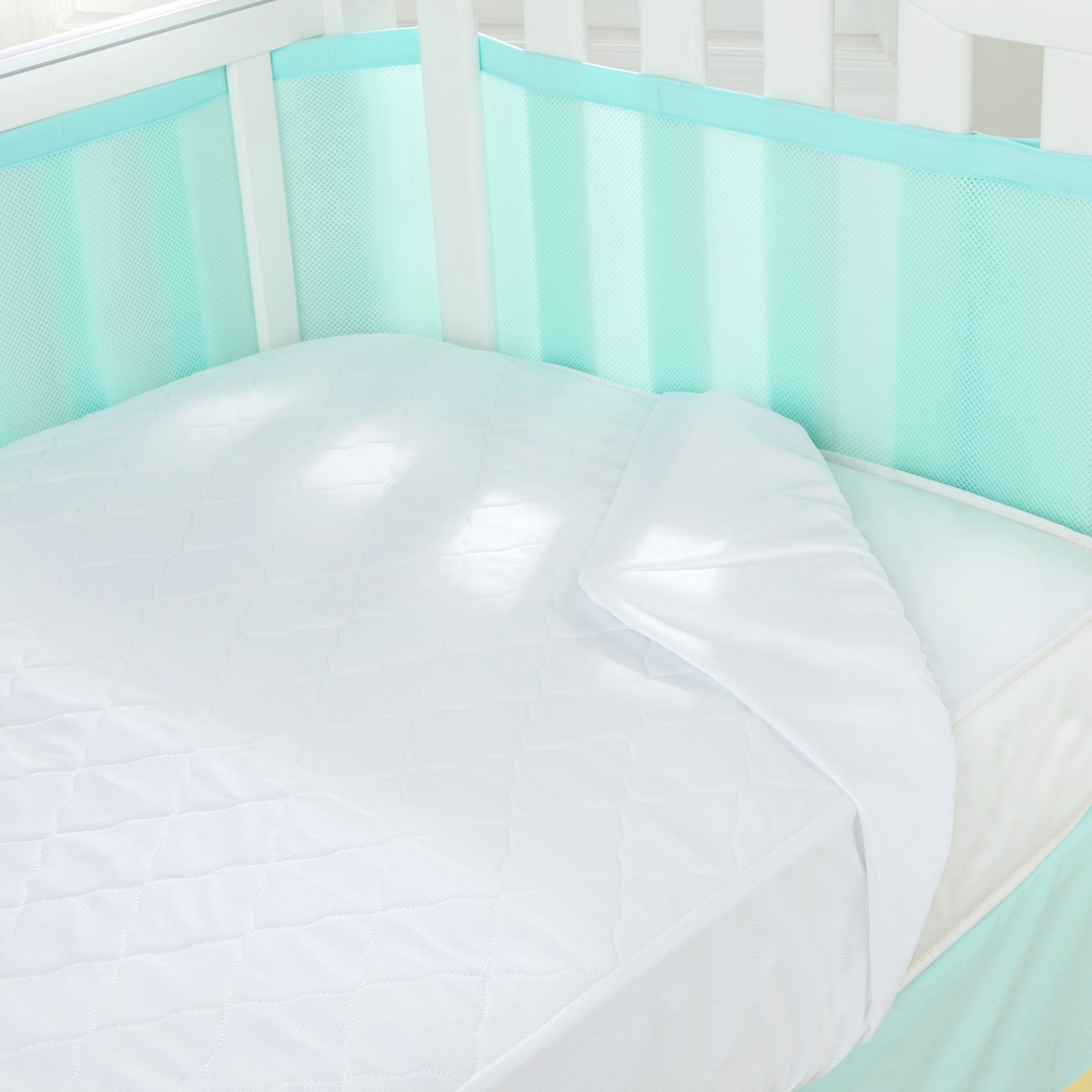 BreathableBaby 3-in-1 Cot Bed Mattress Pad - White